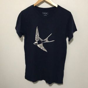Swallow bird blue top - Size Small